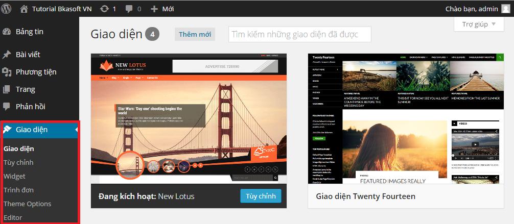 Tìm hiểu khu vực Appearance trong WordPress