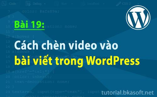 Cách chèn Video vào bài viết trong WordPress