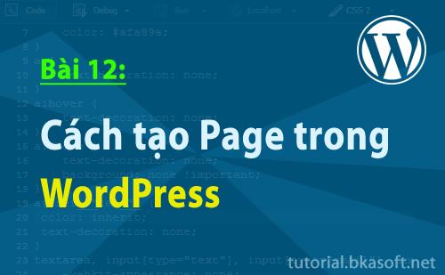Cách tạo Page trong WordPress
