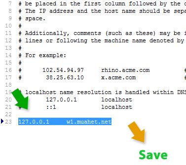 Trỏ tên miền ảo về IP 127.0.0.1