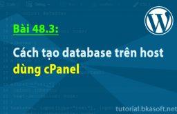 Bài 48.3: Cách tạo database trên host dùng cPanel