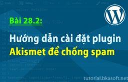 Bài 28.2: Hướng dẫn cài đặt plugin Akismet để chống spam