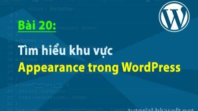 Bài 20: Tìm hiểu khu vực Appearance trong WordPress