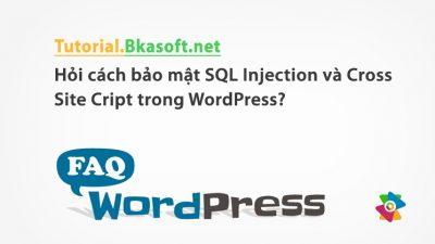 Hỏi cách bảo mật SQL Injection và Cross Site Cript trong WordPress?
