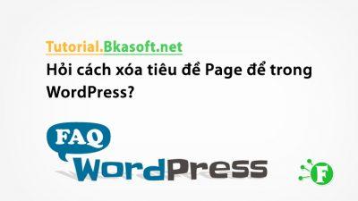 Hỏi cách xóa tiêu đề Page để trong WordPress?