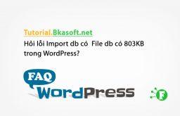 Hỏi lỗi Import db có File db có 803KB trong WordPress?