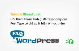 Hỏi thêm thuộc tính gì để Taxonomy của Post Type có thể xuất hiện ở mục thêm menu trong WordPress?