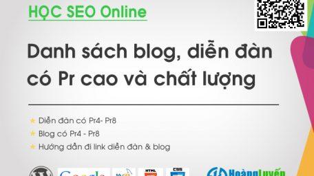 Share danh sách diễn đàn có PR cao: GOV, Edu DA PA chất lượng