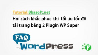Hỏi cách khắc phục khi tối ưu tốc độ tải trang bằng 2 Plugin WP Super Cache và Wp Minify cơ mà tốc độ lại giảm?