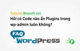 Hỏi có Code nào ẩn Plugins trong wp-admin luôn không?