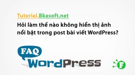 Hỏi làm thế nào không hiển thị ảnh nổi bật trong post bài viết WordPress?
