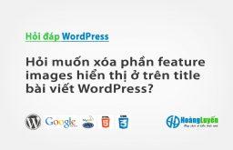 Hỏi muốn xóa phần feature images hiển thị ở trên title bài viết WordPress?