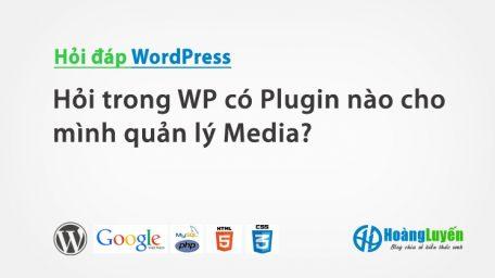 Hỏi trong WP có Plugin nào cho mình quản lý Media?