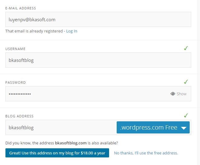 Điền thông tin vào cửa sổ đăng ký tài khoản WordPress.com