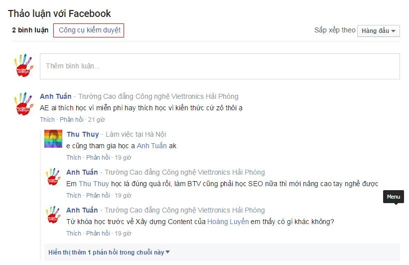 Quản lý Facebook comment tích hợp vào Website
