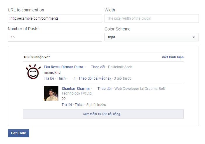 Get code comment Facebook