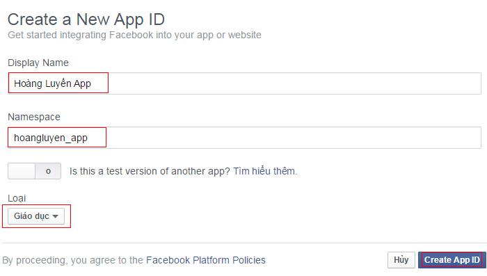 Điền thông tin trước khi tạo App ID mới - New App ID