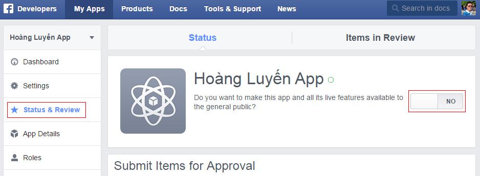 Kích hoạt và chạy ứng dụng Comment App Facebook