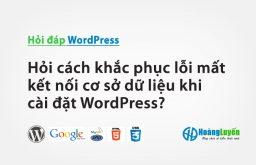Hỏi cách khắc phục lỗi mất kết nối cơ sở dữ liệu khi cài đặt WordPress?