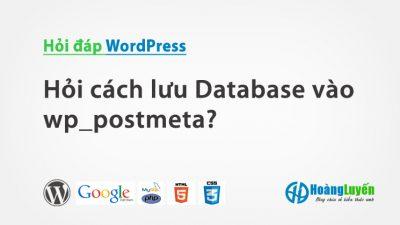 Hỏi cách lưu Database vào postmeta?