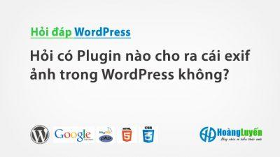 Hỏi có Plugin nào cho ra cái exif ảnh trong WordPress không?