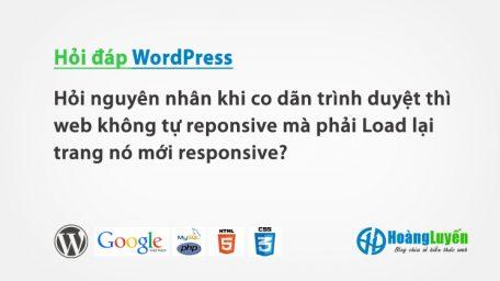 Hỏi nguyên nhân tại sao khi co dãn trình duyệt thì web không tự reponsive mà phải Load lại trang nó mới responsive?