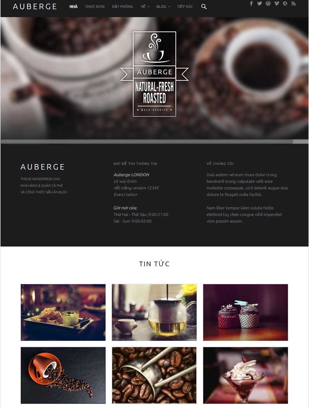 Themes WordPress Auberge - Nhà hàng và Cafe