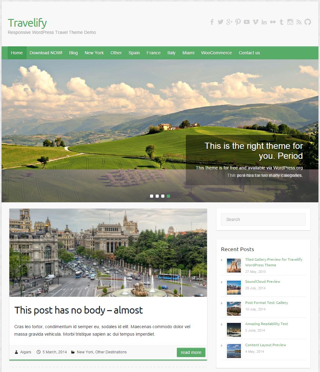 Themes WordPress Travelify - Du lịch