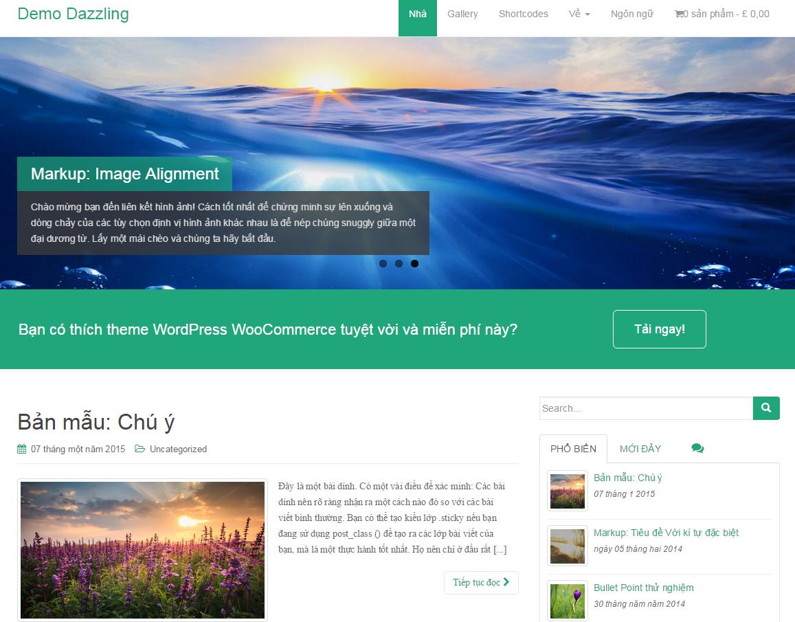 Themes WordPress Dazzling - Giới thiệu