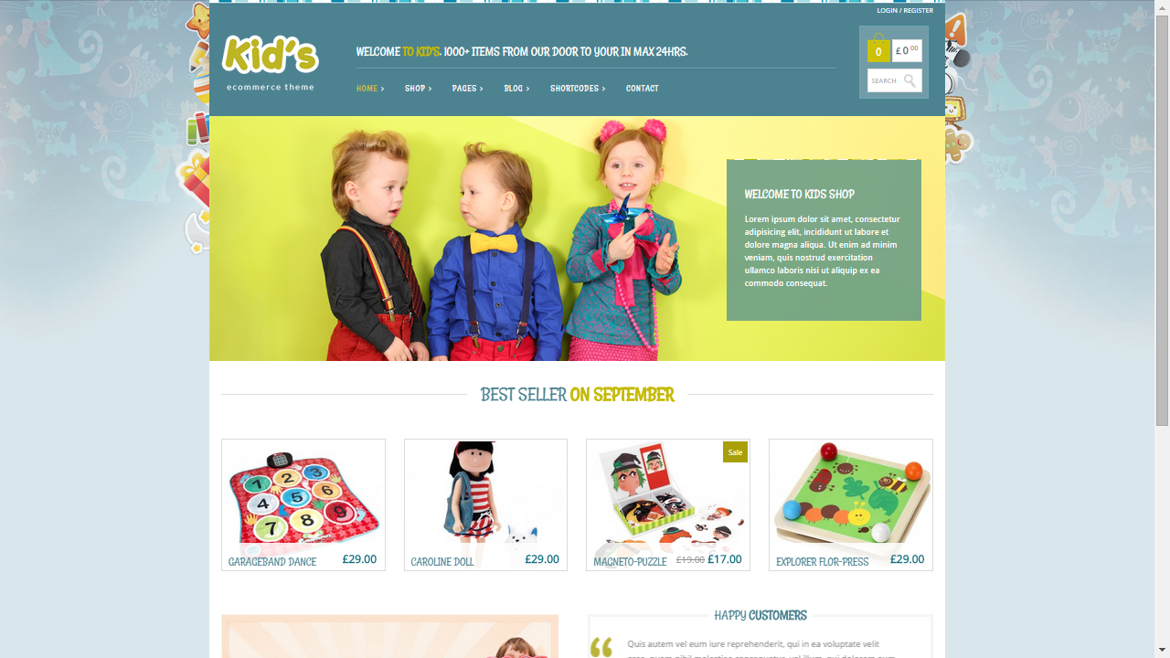 Themes WordPress responsive Kid's ecommerce