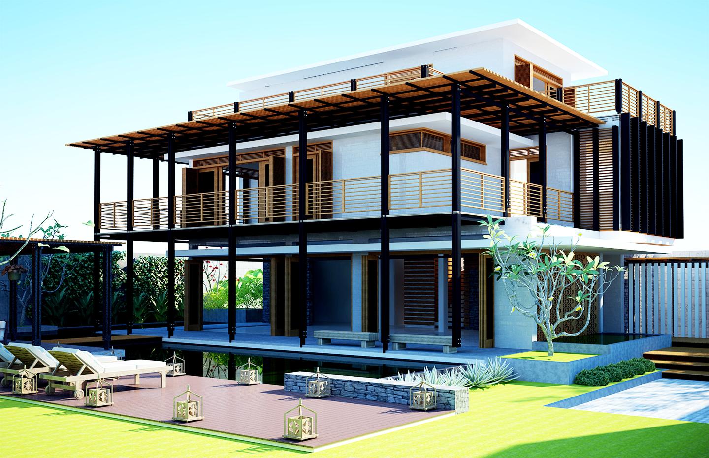 Biệt thự 2 tầng có bể bơi ngoài trời kết hợp với sân vườn