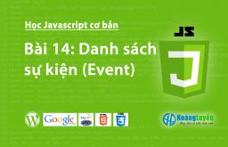 Danh sách sự kiện (Event) trong Javascript