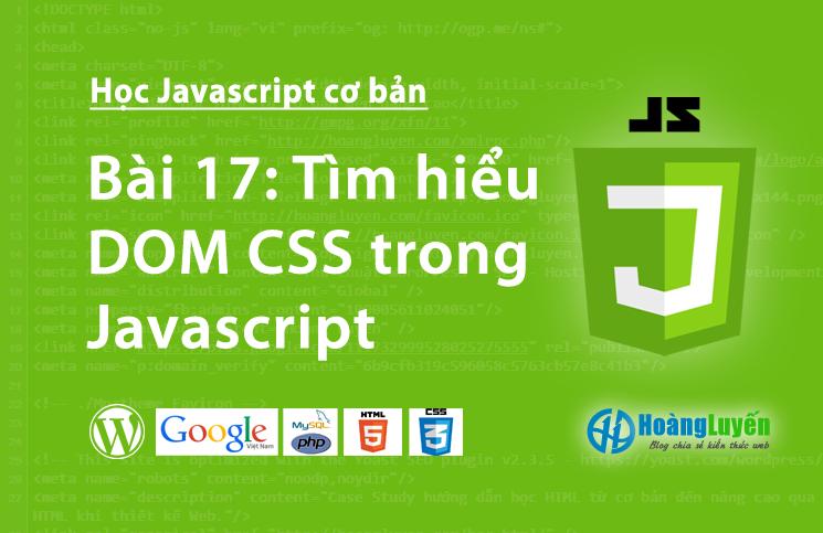 Tìm hiểu DOM CSS trong Javascript