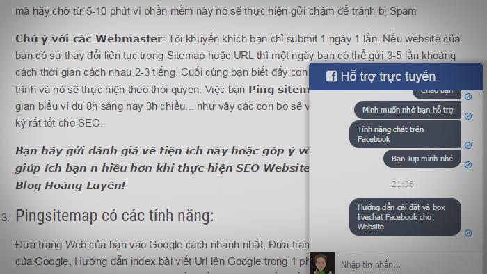 Hướng dẫn cài đặt và tạo LiveChat Facebook cho Website