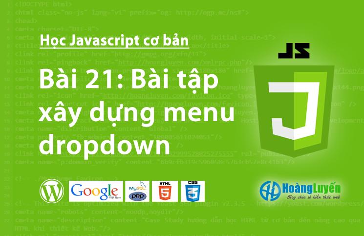 Bài tập - xây dựng menu dropdown trong Javascript