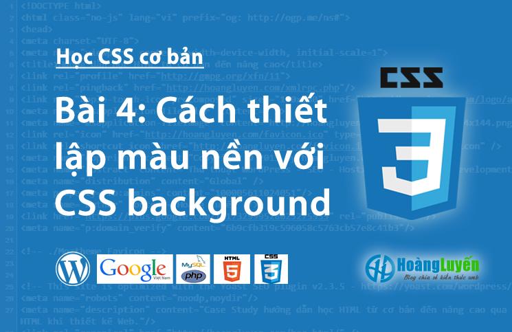 Cách thiết lập màu nền với CSS background