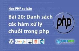 Danh sách các hàm xử lý chuỗi trong php