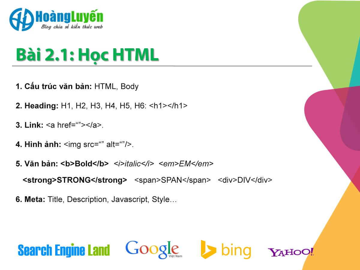 Bài 2.1 Học HTML để tự tay tối ưu website chuẩn SEO