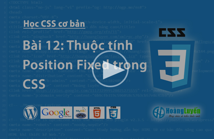 Video thuộc tính Position:fixed trong CSS