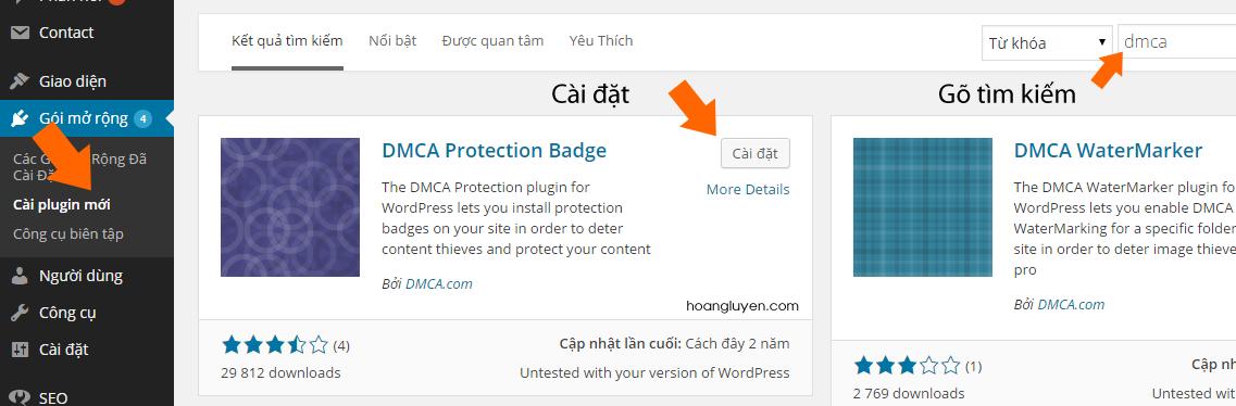 Cài đặt Plugin DMCA Protection Badge
