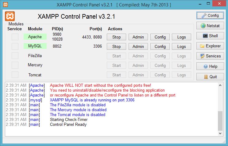 Hình 3. Cửa sổ làm việc Xampp Control Panel